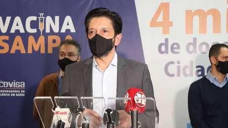 O prefeito em exercício de São Paulo, Ricardo Nunes (MDB), durante o lançamento do Dia D de vacinação contra a Influenza.