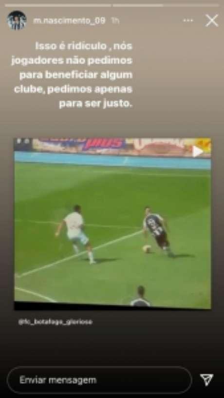 Matheus Nascimento reclama nas redes sociais (Foto: Reprodução/Instagram)