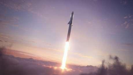 O BFR (Big... errr Falcon Rocket) em ação. Em breve. (