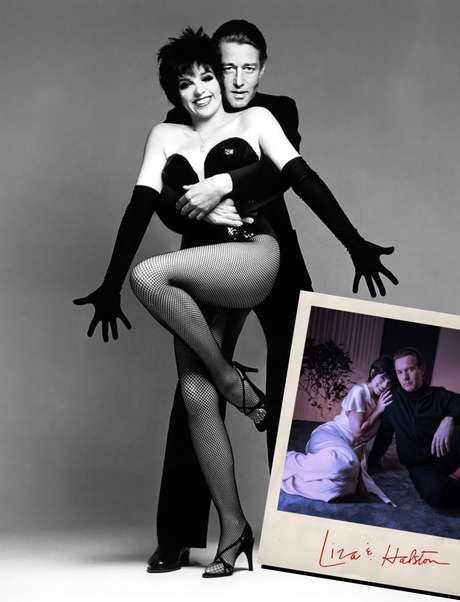 Halston com a diva Liza Minelli e, na polaroid, os atores que os interpretam, Ewan McGregor e Krysta Rodriguez