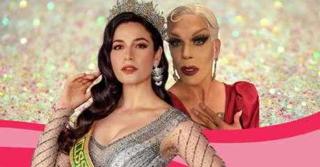 A Miss Brasil e segunda colocada no Miss Universo Julia Gama e a drag queen Ikaro Kadoshi, apresentadora da transmissão do concurso na TNT