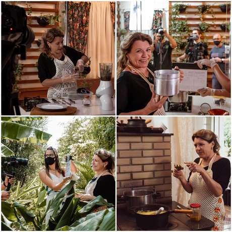 Bastidores das gravações do 'Divina Receita' na casa de Olga no interior do Paraná