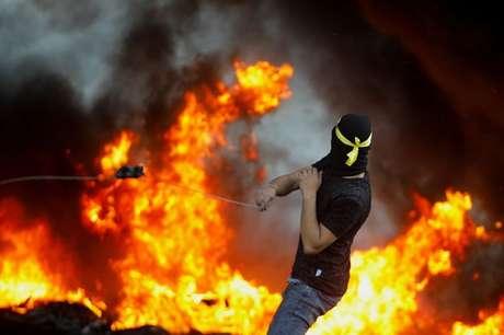Palestinos protestam contra Israel  18/5/2021   REUTERS/Raneen Sawafta