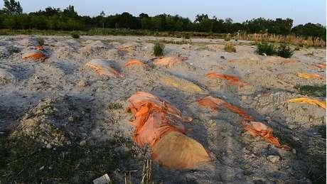 Centenas de valas têm sido feitas informalmente para vítimas da covid nas areias que ficam às margens do Ganges, rio sagrado para os indianos