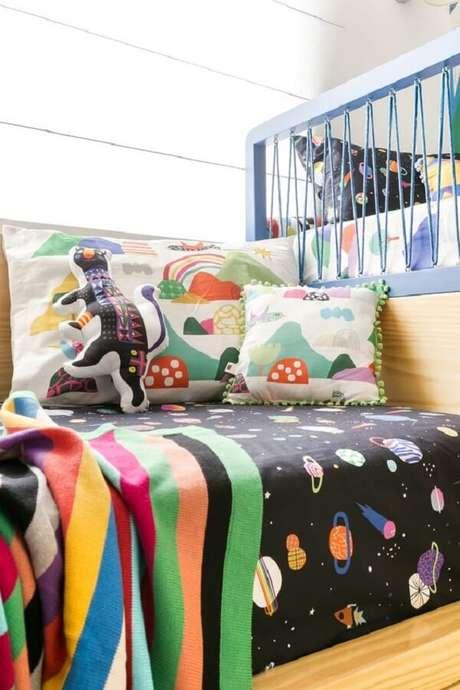 44. Kit almofadas infantil com design colorido. Fonte: Blog Mooui