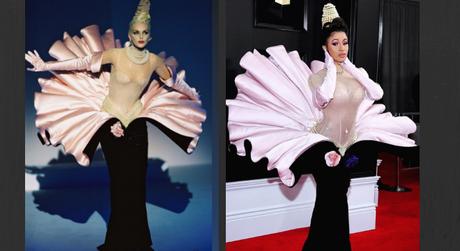 Vestido usado por Cardi B no Grammy (Fotos: Reprodução/Instagram/manfredthierrymugler)