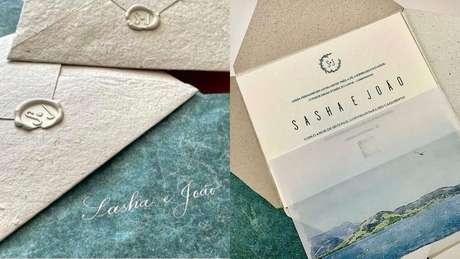 Convite escolhido pelo casal foi sustentável e com miolo 100% feito em papel de algodão.
