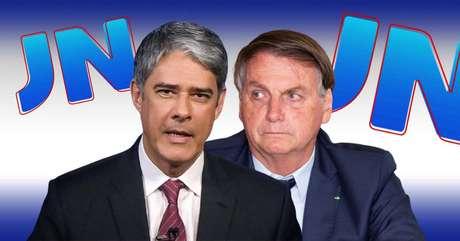 O âncora e editor-chefe do 'JN', William Bonner, e Jair Bolsonaro: a Globo se faz presente nos bastidores da CPI que incomoda o presidente