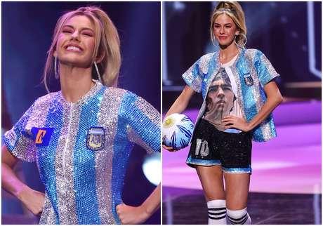 A Miss Argentina homenageou Diego Maradona, morto em novembro de 2020, na prova de traje típico no Miss Universo