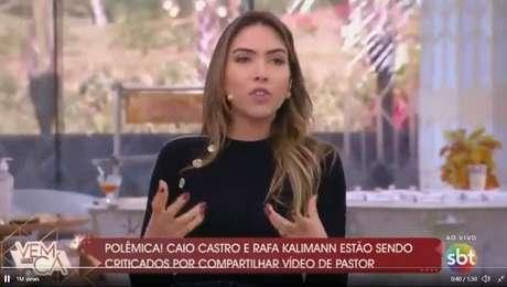 Durante a apresentação do programa, Patrícia saiu em defesa de Caio Castro e Rafa.