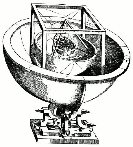 Os cinco sólidos platônicos usados como base para as órbitas planetárias
