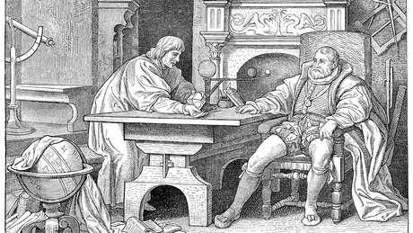 Kepler explicando ciência ao Imperador Rudolf II