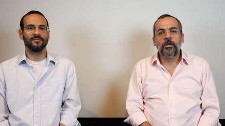 Arthur (à esquerda) e Abraham Weintraub, em vídeo postado para falar sobre participação na crise do coronavírus