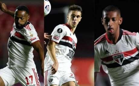 Trio disputa posição no meio-campo titular do São Paulo neste sábado (Foto: Montagem LANCE!)