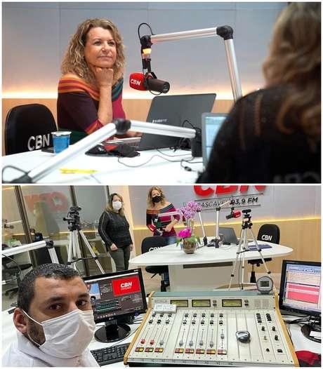 Olga no estúdio da CBN Cascavel com parte da equipe de seu programa