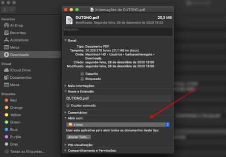 alterar programa padrão abrir arquivo mac
