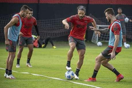 Preparação para os próximos compromissos: treino do Flamengo no Ninho (Foto: Alexandre Vidal/Flamengo)