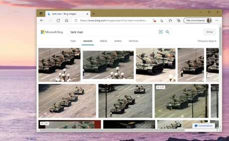 """O Bing agora exibe normalmente imagens para """"Tank Man"""""""