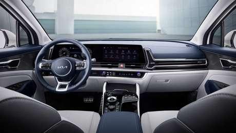 Interior do novo Sportage conta com acabamento mais refinado.