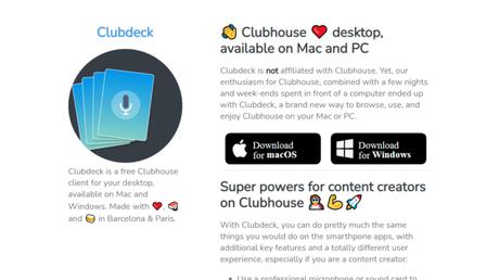 Página do Clubdeck disponibiliza download para Windows e macOS