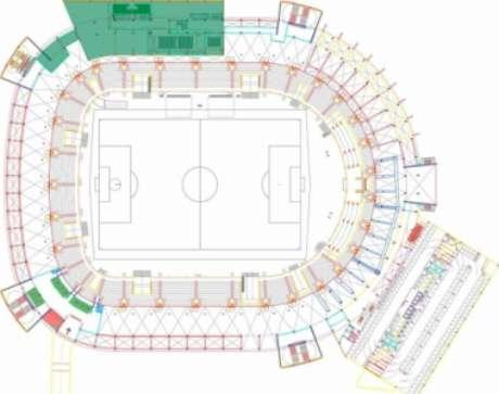 Sala de Troféus será construída na área em verde do mapa e ficará no primeiro piso da arena (Divulgação)