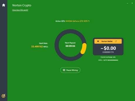Mineração com Norton Crypto apresenta baixa lucratividade