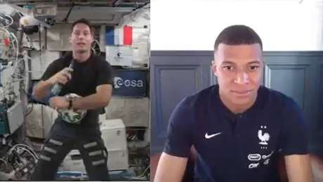 Mbappé conversou com astronauta francês em ação da Uefa para promover a Euro