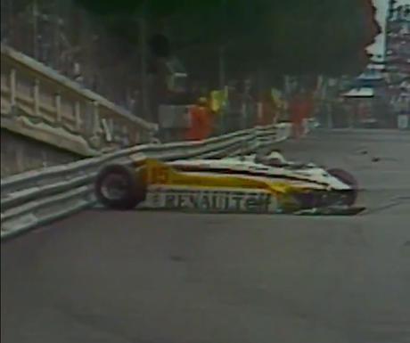 Alain Prost após bater no GP de Mônaco de 1982.