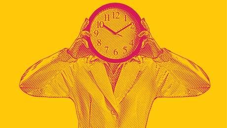 Imagem de uma pessoa com um relógio na cabeça