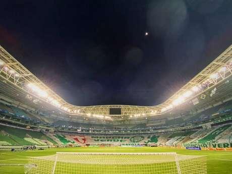 Bandeirão da Mancha Alvi Verde no Gol Norte (Foto: Divulgação/Palmeiras)