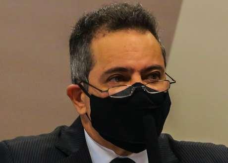 Élcio Franco depõe na CPI da Covid-19 no Senado Federal em Brasília (DF), nesta quarta-feira (9), que visa investigar as ações e omissões dos governos federa e estaduais, no combate a pandemia da Covid. (Cláudio Marques/Futura Press)