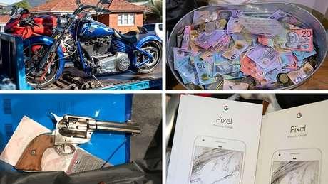 Itens apreendidos incluíam motos e dinheiro