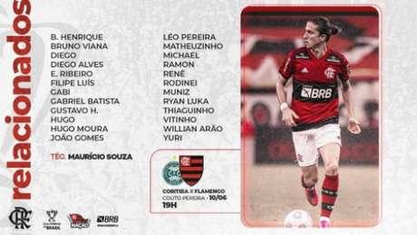 Lista de relacionados do Flamengo (Foto: Divulgação/Flamengo)