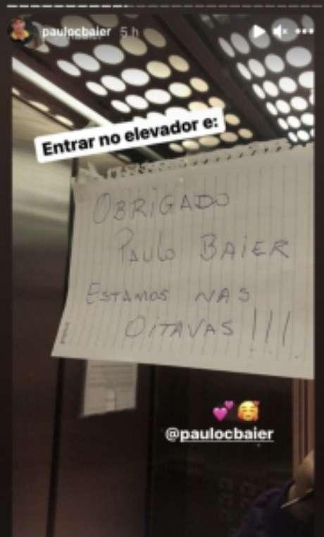 Mensagem de vizinho de Paulo Baier agradecendo ao técnico pela classificação (Reprodução / Instagram)