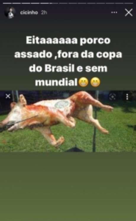 Cicinho tirou sarro do Palmeiras após a eliminação desta quarta-feira (Reprodução: Instagram)