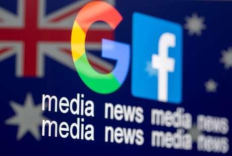 Logos de Google e Facebook em ilustração referente a movimento das empresas em relação à imprensa na Austrália  18/02/2021 REUTERS/Dado Ruvic
