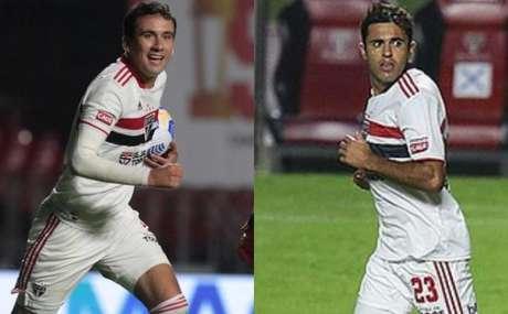 Pablo e Eder jogaram juntos contra o 4 de Julho (Fotos: Rubens Chiri e Paulo Pinto / saopaulofc.net)