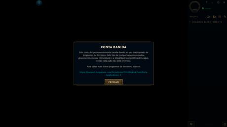 Aviso de banimento em League of Legends