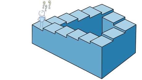Também conhecida como 'escada infinita' ou 'impossível', é uma ilusão de ótica criada pelos matemáticos ingleses Lionel Penrose e seu filho Roger Penrose em 1958. As escadas mudam de direção 90º quatro vezes dando a impressão de subir ou descer ao mesmo tempo, em qualquer direção que seja. Sua construção em 3D é impossível