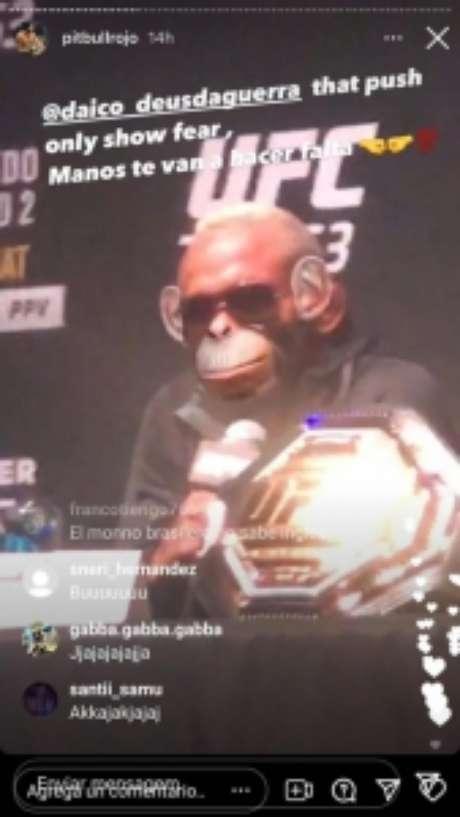 Live de Marcelo Rojo onde o treinador colocou um filtro de macaco em Deiveson Figueiredo (Reprodução / Instagram)