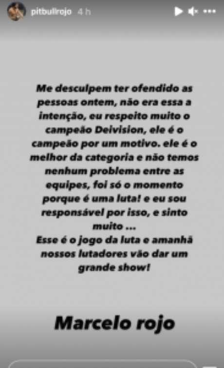Pedido de desculpas de Marcelo Rojo após publicações racistas (Reprodução / Instagram)