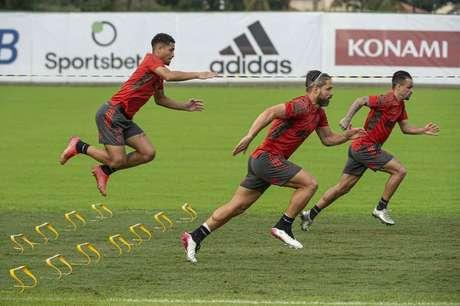 Jogadores do Fla em uma das atividades no Ninho do Urubu (Foto: Alexandre Vidal/Flamengo)