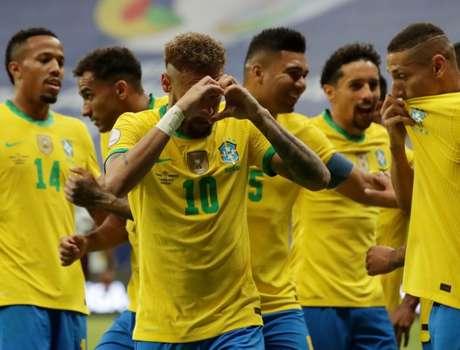 Neymar comemora gol do Brasil contra Venezuela  13/6/2021  REUTERS/Henry Romero