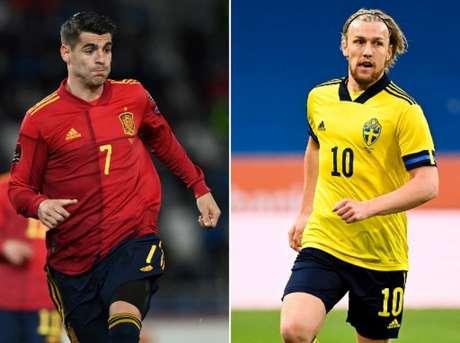 Morata e Forsberg são bons nomes de Espanha e Suécia (Foto: JONATHAN NACKSTRAND, KIRILL KUDRYAVTSEV / AFP)
