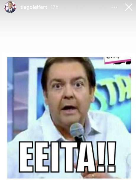 Tiago Leifert publica meme de Faustão após ser anunciado como substituto do colega no próximo domingo