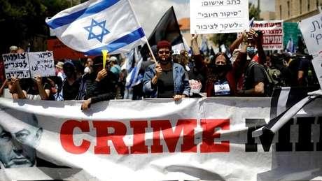 O ano de 2020 teve protestos contra Netanyahu pedindo por sua saída