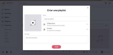 Criando uma playlist no Deezer no desktop