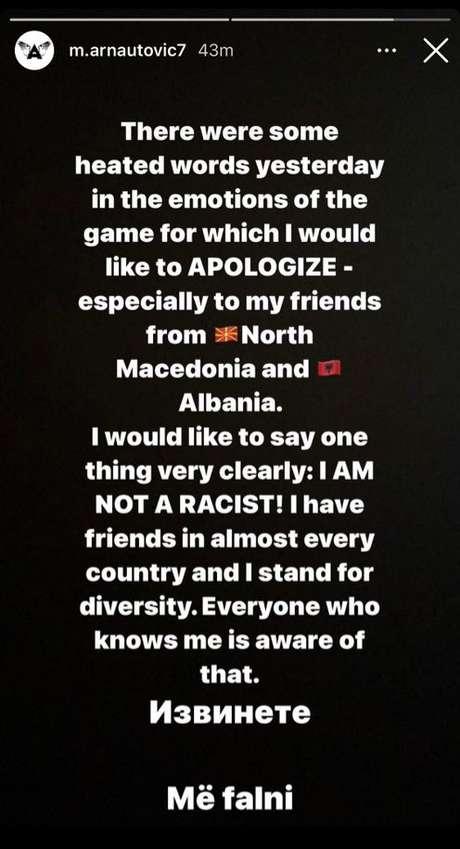 O jogador se manifestou em seu Instagram (Foto: Reprodução/Twitter)