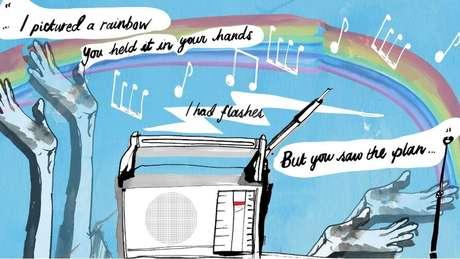 Illustration of the song lyrics mixed with Thomas' memory flashbacks