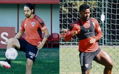 Benítez e Luan durante treino do São Paulo (Foto: Fellipe Lucena / saopaulofc)